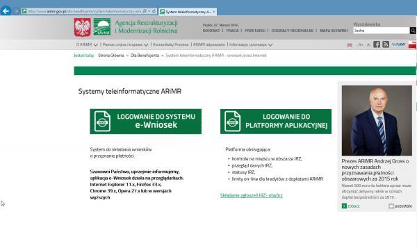 Startseite des ARiMR-Serviceportals http://www.arimr.gov.pl